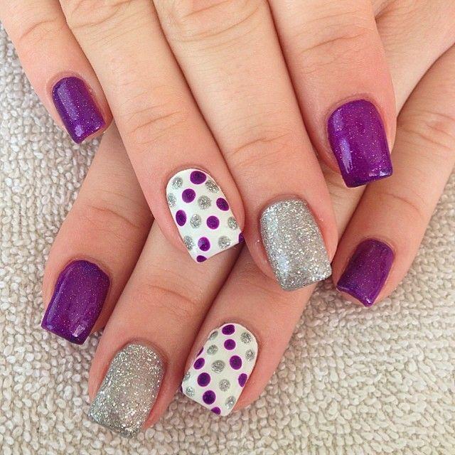 Фиолетовые оттенки в дизайне ногтей